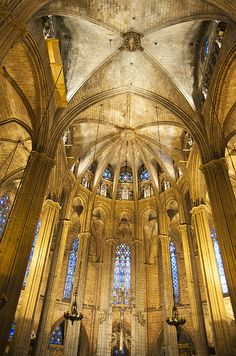Stunning interior view of the La Catedral Cathedral in Barcelona, beautiful golden colors.  Barcelona Cathedral, a Gothic cathedral, Pla de la Seu, Barri Gotic or Gothic Quarter, Barcelona, Catalonia, Spain, Europe. Click here to buy a poster, art print or canvas print: http://matthias-hauser.artistwebsites.com/featured/la-catedral-barcelona-cathedral-matthias-hauser.html 30 days money back guarantee. (c) Matthias Hauser hauserfoto.com
