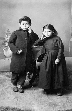 Jean-Louis & Angelique Riel, children of Louis Riel, Winnipeg, 1888. Photo: Steele Studio