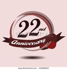 22nd anniversary logo with circle composition soft chocolate color and ribbon