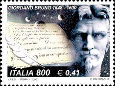2000 - 4º centenario della morte di Giordano Bruno (1548 – 1600) - filosofo, scrittore e monaco - Ritratto di Giordano Bruno e pergamene coi titoli delle sue opere