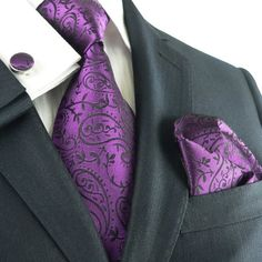 Amazon.com: Landisun 331 Dark Purple Paisleys Mens Silk Tie Set: Tie+Hanky+Cufflinks: Clothing