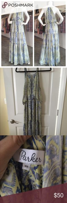 Parker blue/green maxi dress Parker blue/green maxi dress, size XS, in brand new condition. I purchased this online but it doesn't fit me. It's never been worn other than to try it on. Parker Dresses Maxi