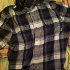 Vans plaid Long sleeve blue and yellow worn 3 times Vans Tops Button Down Shirts