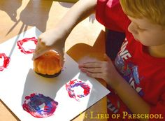 Paint with Pumpkins - an easy activity to get kids in the fall spirit