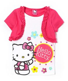 Another great find on #zulily! Pink & White Flower Hello Kitty Layered Top - Girls #zulilyfinds