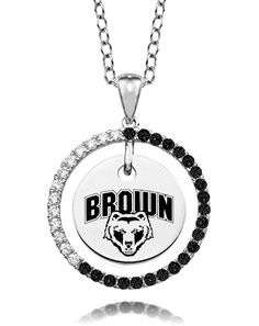"Brown Univeristy Bears Black and White Cz Circle Necklace. Officially Licensed. Chain Length is 16"" with a 2"" Extender. Number of Stones: 35. Charm Size is 18mm (size of a penny). ""the indicia featured on this product is a protected trademark owned by the respective sorority""."