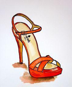 Original ilustración de moda: Kate Spade ilustración de zapatos de primavera. $ 24,00 través de Etsy .: