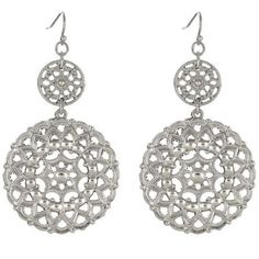 Inspired by the rayonnant rose windows we fell in love with inEurope, the Wanderlustearrings feature cascading circles of ornate filigree medallionsdangling from french hook earwires.  These statement sized bohemian luxe silverearrings are the perfect accessory for wherever your wanderlust takes you. WANDERLUST = an irresistibly strong & innate desire to travel and explore Styling Tip: Layer with the Wanderlust lariatnecklace and Kai cuff bracelet. Design:  2.75