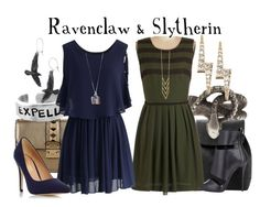 """Ravenclaw & Slytherin // Harry Potter"" by glitterbug152 ❤ liked on Polyvore featuring MANGO, Valentino, ZoÃ« Chicco, Chicwish, Gorjana, Rachel Rachel Roy, Giuseppe Zanotti, Dorothy Perkins, harrypotter and slytherin"