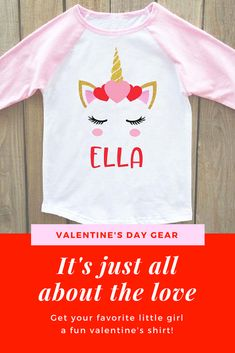 Cute unicorn glitter toddler 2T-4T raglan that's perfect for valentines day! Name can be personalized. girls valentines day shirt, unicorn shirt, valentines shirt, valentines day shirt for girls, girls valentine shirt, valentine shirt, unicorn, girls valentines day outfits #ad