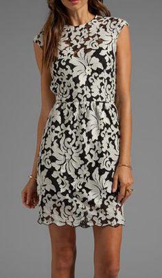 DOLCE VITA Verie Embroidery Lace Dress in Cream/Black - Dresses.  So pretty.