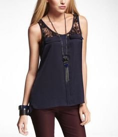 Express Kissing Placket Mock Pocket Shell Top in Indigo... LOVE this.