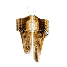 A never-before-seen lavish and lustrous expression of design enriches Zaha Hadid's Zaha collection. Aria Gold's 50 layers, radiating around a LED source, are each different from the other and are resp