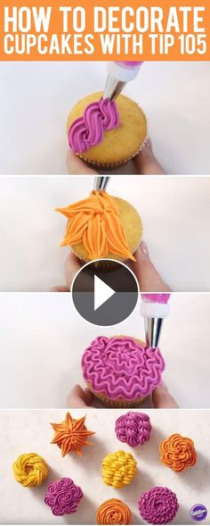 How to Decorate Cupcakes with Tip 105 – 8 ways!-How to Decorate Cupcakes with Tip 105 – 8 ways! Learn 8 ways to decorate cupcakes with Wilton Tip - Cupcakes Design, Cake Designs, Icing Tips, Frosting Recipes, Cupcake Recipes, Decoration Patisserie, Dessert Decoration, Decorations, Deco Cupcake