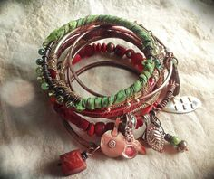 Gypsy bangle stack in red and green with carnelian by quisnam