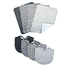 Trend Lab Ombre Gray 8 Piece Bib and Burp Cloth Set
