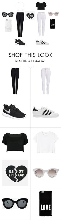 """""""me and benise"""" by layceemawazo on Polyvore featuring Armani Jeans, NIKE, adidas Originals, WithChic, Monki, Hipstapatch, Sun Buddies, CÉLINE, Givenchy and Native Union"""