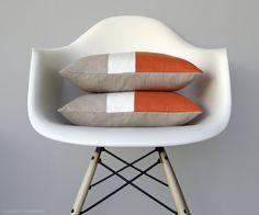 Orange Color Block Cushion Cover JillianReneDecor