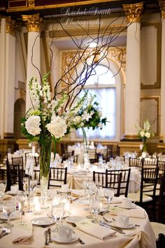 Tall curly willow and hydrangea centerpieces For elegance  www.myfloralimpressions.com Follow us on Facebook