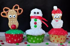 Festive Christmas Cupcake Toppers (Snowman, Reindeer, and Santa) are fun, delicious and easy to create using Nutter Butter cookies! Easy Christmas Treats, Christmas Crafts For Kids, Christmas Goodies, Simple Christmas, Christmas Ideas, Christmas Holiday, Christmas Inspiration, Beautiful Christmas, Holiday Crafts