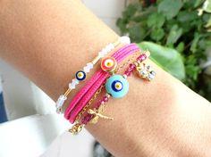 Evil eye bracelet set in pink white ethnic turkish by Handemadeit, $26.90