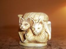 Japanese ? Carved Wood ? Resin ? Netsuke; Cats