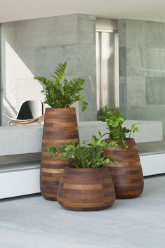Designed by Haldane Martin, the Tuber is crafted from Iroko wood – a durable African timber often used for boat building, flooring and outdoor-furniture. Individual pieces of Iroko are bolted together with stainless s. Large Planters, Indoor Planters, Concrete Planters, Planter Pots, Cheap Planters, Galvanized Planters, Modern Planters, Succulent Planters, Ceramic Planters