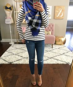 Striped boatneck tee, Toothpick distressed ankle jeans, ]plaid blanket scarf, Steve Madden Claara Block Heel Sandals, fall outfit, casual outfits, petite jeans, petite outfits, petite fashion - click the photo for outfit details!