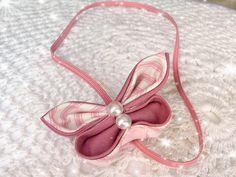 Stripey pink kanzashi butterfly headband by ImwtheBand