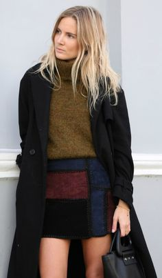 The patchwork trend can be worn in a whole variety of forms; Lucy Williams shows us how to rock a patchwork skirt in this cute number from Zara. Try wearing a patchwork piece with a simple black coat to get this look.   Skirt: Zara, Coat: Maje, Jumper: Gestuz, Boots: J.Crew, Bag: Joseph.
