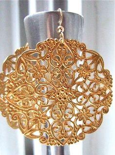 Chandelier earrings Gold earrings Big gold by piedrastudio on Etsy, $25.00