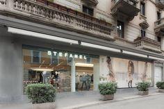 Stefanel store exterior, Milan Corso Vercelli, Italy.