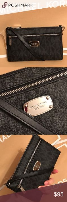🍥mk wristlet🍥black signature Authentic brand new with tag mk black signature color. PVC leather . Silver hard wear. Fit any phone great for night out Michael Kors Bags Clutches & Wristlets
