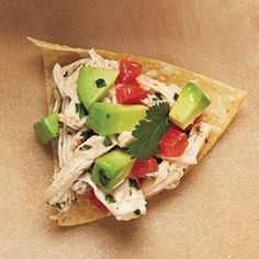 Avocado Chicken Salad Recipe | MyRecipes.com (For greater nutritional value,  skip the tortilla chips, or swap out a whole grain cracker like Ak-Mak. Or... at least buy good quality tortilla chips - not Tostitos! Made with too much crap.)