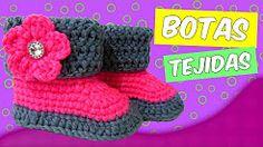 botas tejidas a crochet con dobles - YouTube