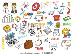 Set of business marketing doodle