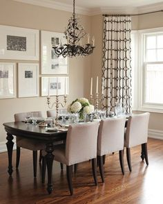 Photo Gallery: Great Gallery Walls | House & Home / drapery fabric kravet // table and chairs