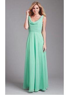 Stunning Chiffon Cowl Neckline Natural Waistline Floor-length A-line Bridesmaid Dress