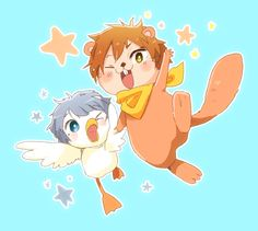 New habitants from the aquarium ...  From mako_rakko ... Free! - Iwatobi Swim Club, free!, iwatobi,  nitori, aiichiro nitori, aiichiro, duck, mikoshiba, momotaro, momotarou, momotarou mikoshiba, momotaro mikoshiba, otter