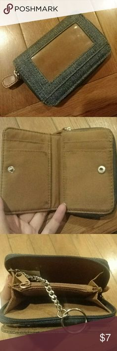 """🌸CUTE🌸 Denim Wallet Small and compact with room for all your essentials plus your keys! Good condition as seen in photos.  Measures: 4.5"""" long x 3.5"""" wide a little less than 1"""" thick Bags Wallets"""
