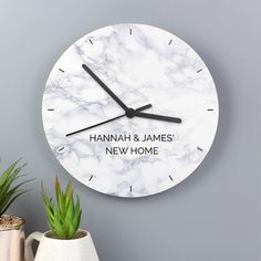 Sassy Bloom are pleased to present this lovely new in Marble clock for any room in the houseThis modern Marble Effect Wooden Clock is the perfect gift for any new home.This Wooden Clock can be personalised with up to 2 lines of text, with a maximum of 15 characters per line.Please note all personalisation is fixed uppercase.Battery not included, requires 1 AA battery.Ideal for New Home, Birthdays and ChristmasMarbleShipping Weight: 0.31 KGHeight: 25 CMWidth: 25 CMDepth: 4 CM