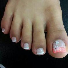 Pedicure Designs, Pedicure Nail Art, Toe Nail Designs, French Pedicure, Toe Nail Art, Acrylic Nails, Cute Toe Nails, Love Nails, Pretty Nails