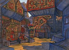 "Nicholas Roerich ""Prince Galitsky's Courtyard"" Décor for Borodin's opera ""Prince Igor"", 1914"