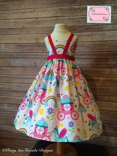 Rainbow loretta dress  Girls handmade party dress