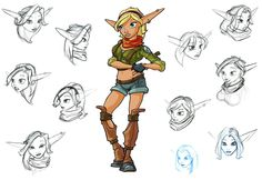 View an image titled 'Tess Art' in our Jak II art gallery featuring official character designs, concept art, and promo pictures. Character Design Animation, Character Design References, Character Development, Character Art, Cartoon Video Games, Video Game Characters, Jack And Daxter, Jak & Daxter, Fantasy Races