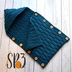 Button Up Waves Hooded Cocoon Crochet Pattern