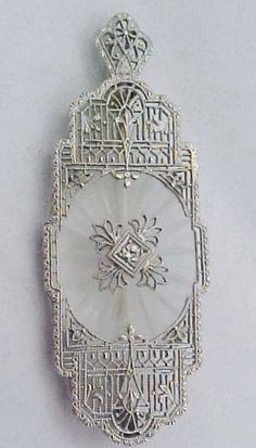 14k & Platinum Diamond Camphor Glass Filigree Pendant / Pin Art Deco, ca. 1920s