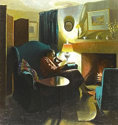THE ARTIST'S WIFE, EVELYN, SEATED READING, MID-1930S  Gerald Gardiner
