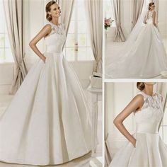 Awesome wedding dress lace top satin bottom