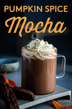 Pumpkin Spice Mocha is available all year round when you make it in your home. This hot or cold drink recipe is easy to make, and you can top it with whipped cream, caramel sauce, or Cinnamon-infused Vermont Maple Syrup #cafemocha #mocha #pumpkinspice #starbuckscoffee #maplesyrup #vermontmaplesyrup #caramelsauce #goatcaramelsauce via @Spoonabilities